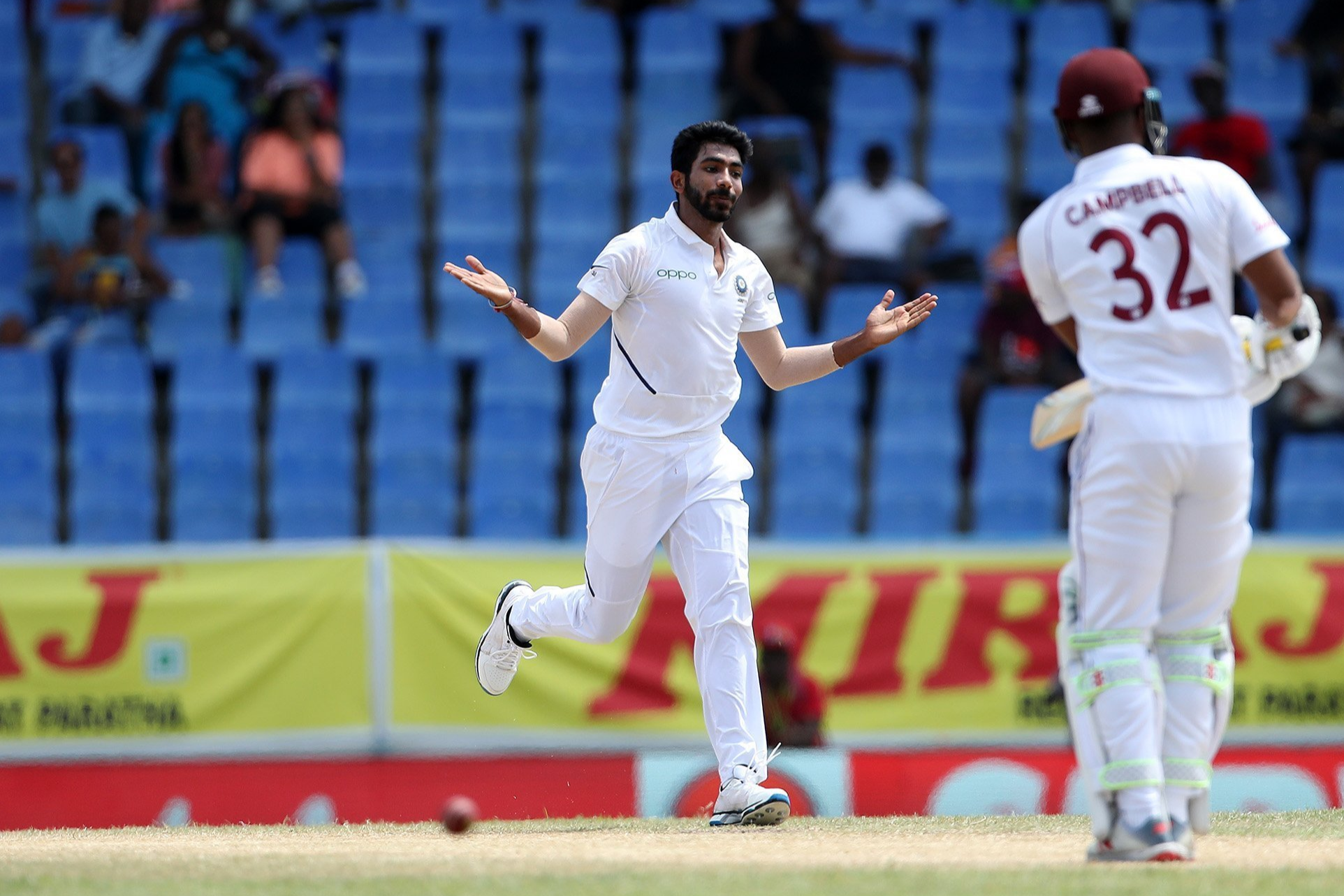 WI v IND: Bumrah and co blow away the stumps, and Windies