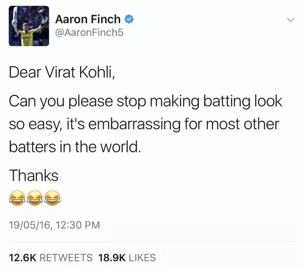 aaron finch tweet on virat kohli