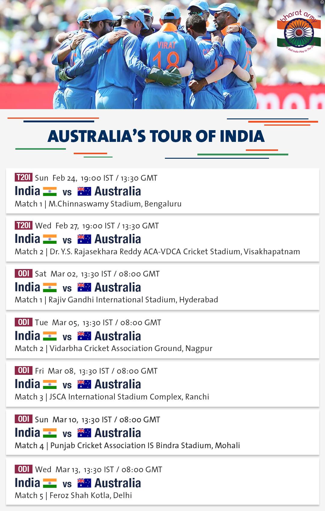 Australia Tour Of India 2019 Schedule Teams Venues