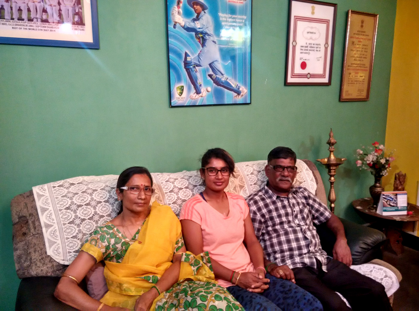 Mithali Raj with her family