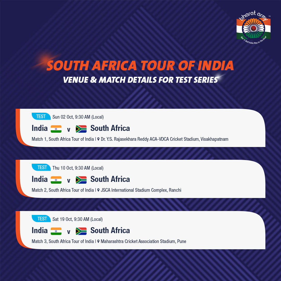 india vs south africa 2019 fixtures, schedule, venue, match details